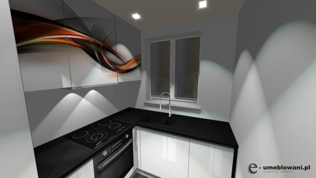 kuchnia biała, blat czarny, zlew pod oknem