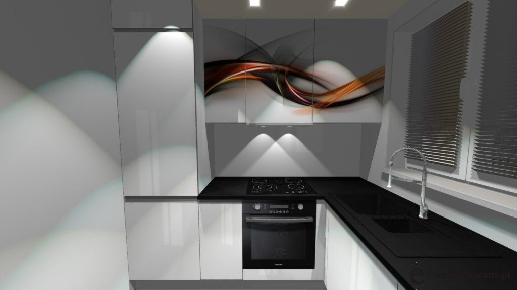 Kuchnia biała, czarne blaty, grafika na fronty, zlew pod oknem