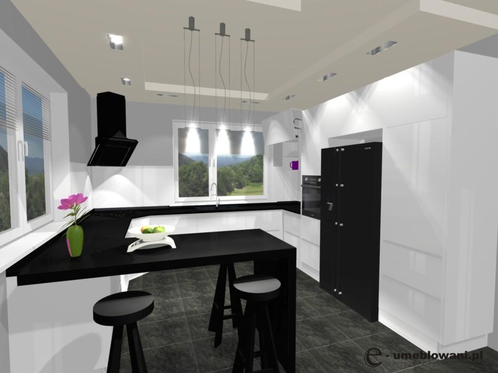 Biała kuchnia z barkiem otwarta na salon -> Kuchnia Z Barkiem Na Salon