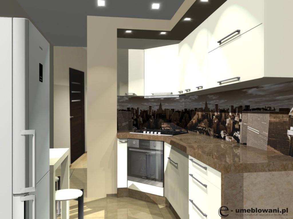 kuchnia-w-bloku-projekty-fototapeta-miasto-piekarnik w narożniku, stół