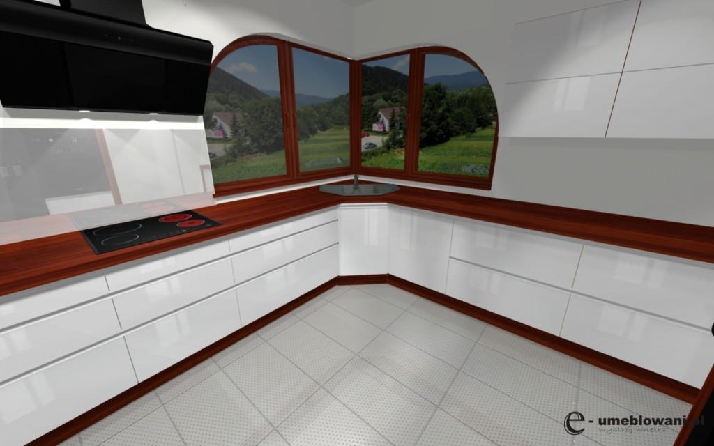 kuchnia z oknem naroznym_biała, białe szafki, blat drewniany