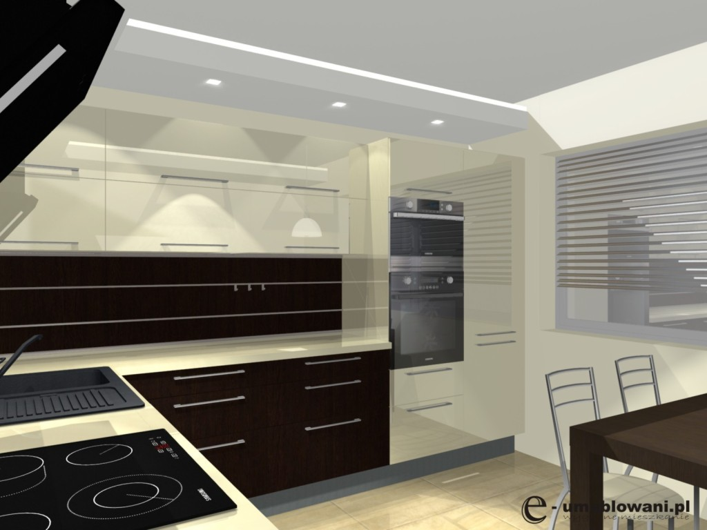 Meble kuchenne orzech i wanilia, stół, panel na ścianie, sufit podwieszany