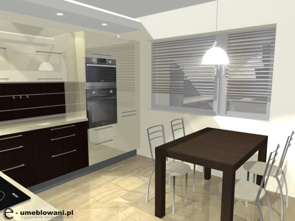 Meble kuchenne orzech i wanilia, stół, panel na ścianie