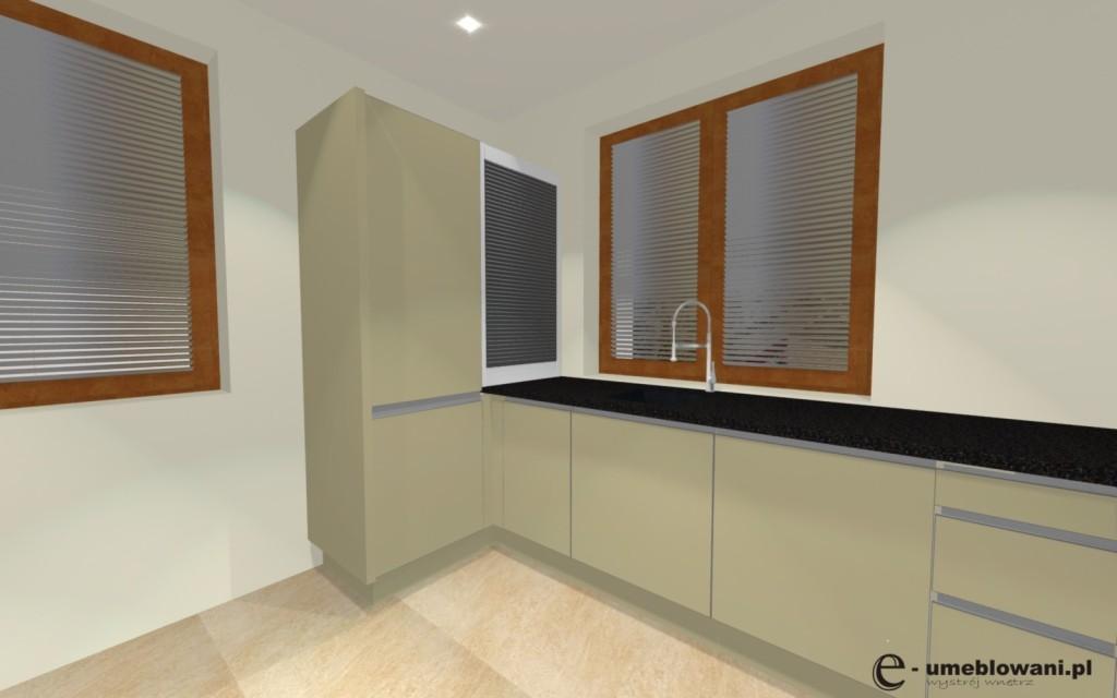 kuchnia_wanilia_z_dwoma_oknami, roleta w kuchni