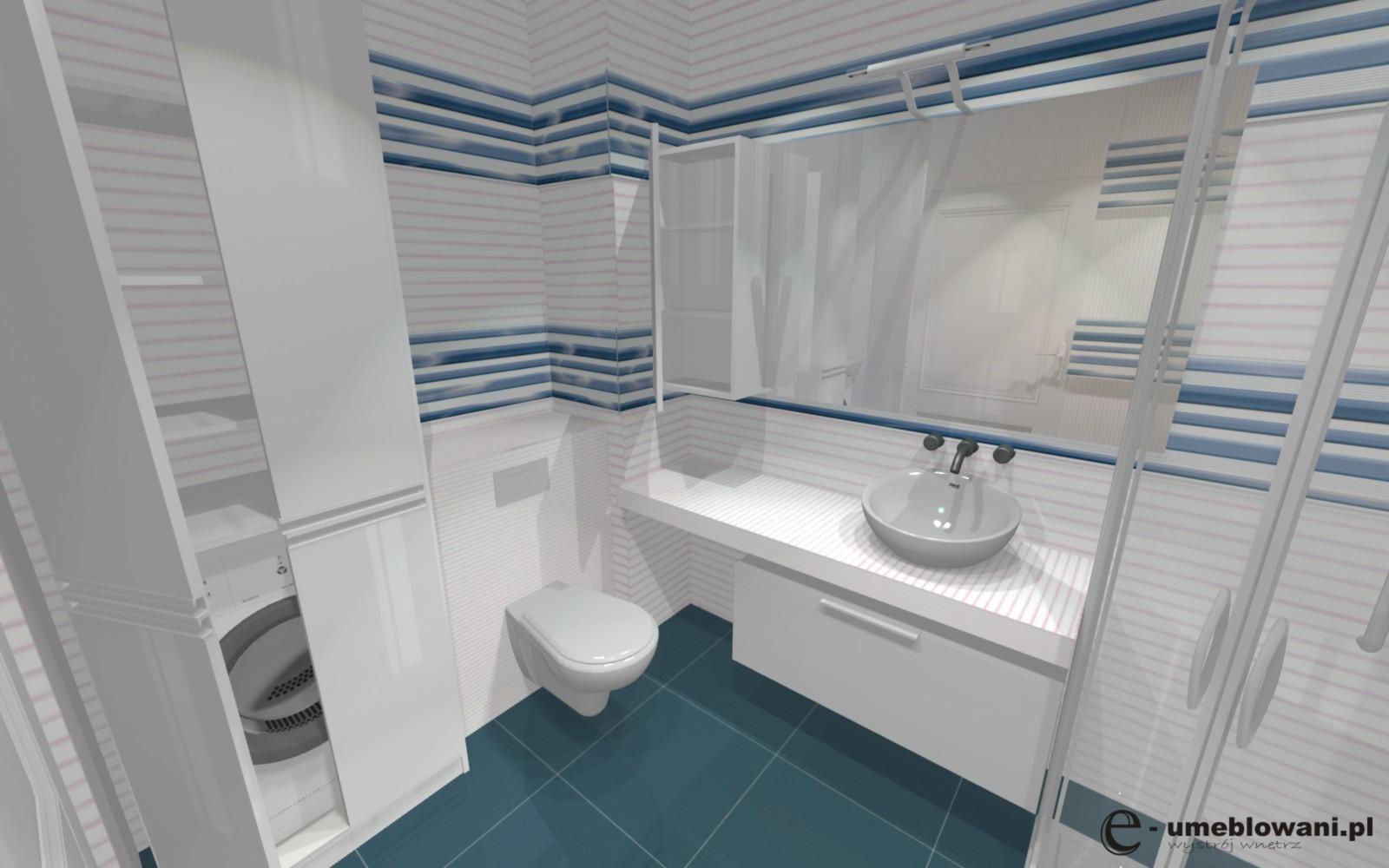 mała łazienka biało-niebieska zabudowa pralki