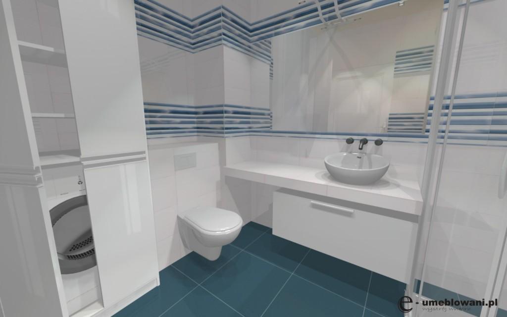 mała łazienka biało niebieska, pralka, prysznic