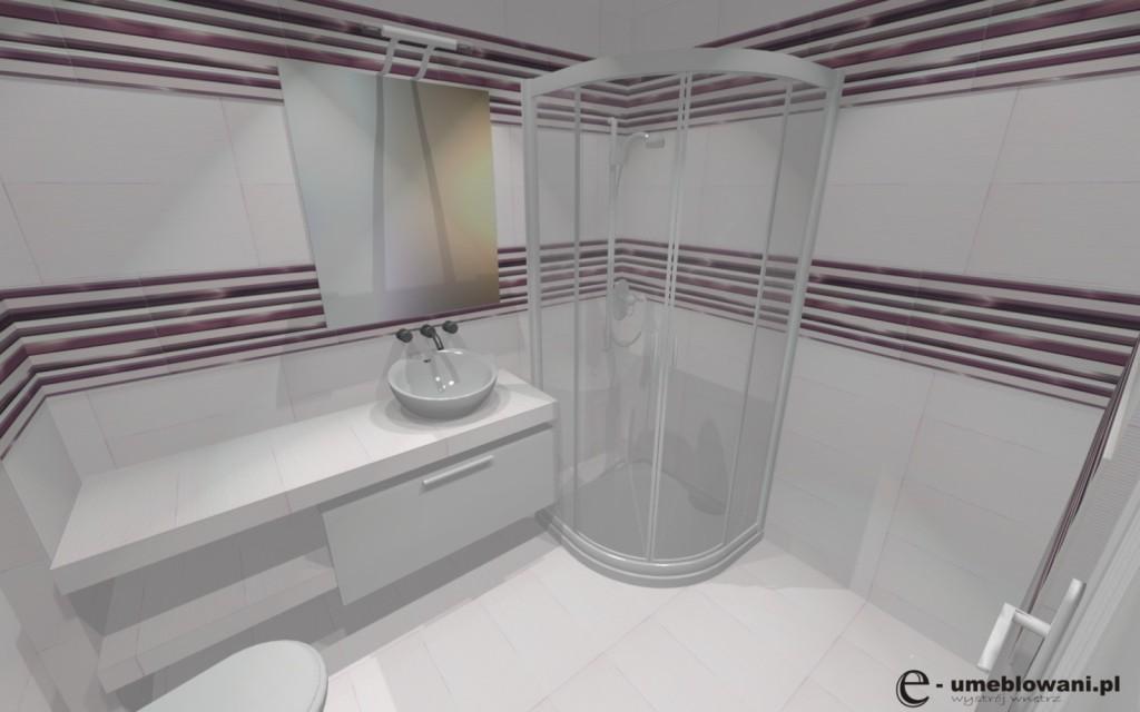 mała łazienka płytki fanal seria allegro 2, umywalka nablatowa, prysznic
