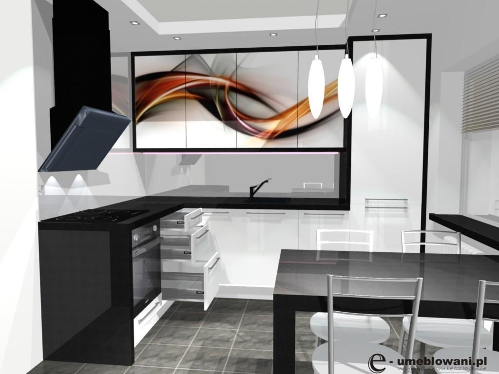 mała kuchnia biała fronty z grafiką