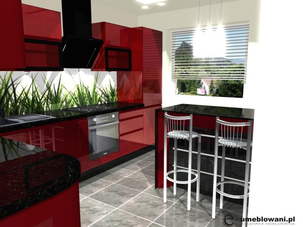 mała kuchnia czerwona połysk barek, czarny blat, jedno okno