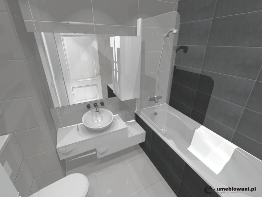 mała_łazienka_biała szara, umywalka nablatowa, szafka pod umywalkę biała, wanna