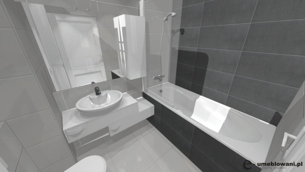 mała łazienka biała, szara, umywalka nablatowa, szafka pod umywalkę biała