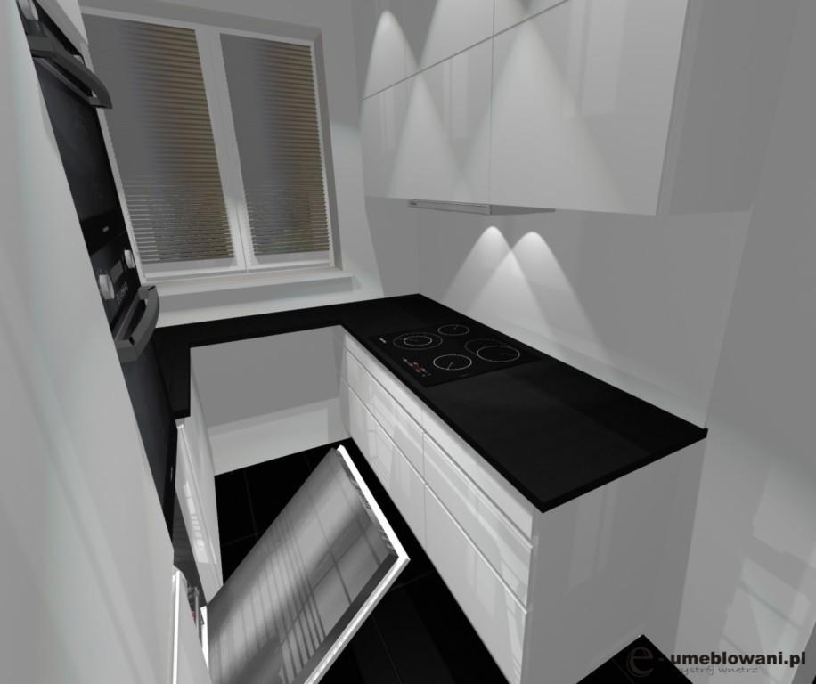 malutka kuchnia biała z czarnym blatem, jedno okno, szafki do sufitu