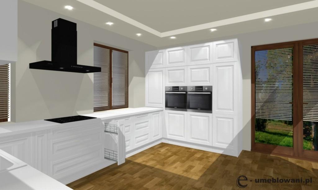 kuchnia biała, meble kuchenne białe, podłoga drewniana