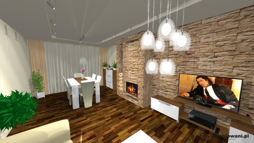 Salon, kominek, stół biały z drewnem, stolik kawowy biały szafka rtv biała, kamień_klinkier na scianie