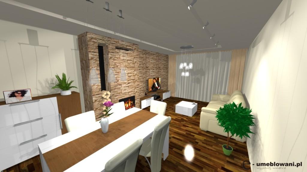 Salon, kominek, komoda białą połysk, stół biały z drewnem, stolik kawowy biały szafka rtv biała, kamień na scianie
