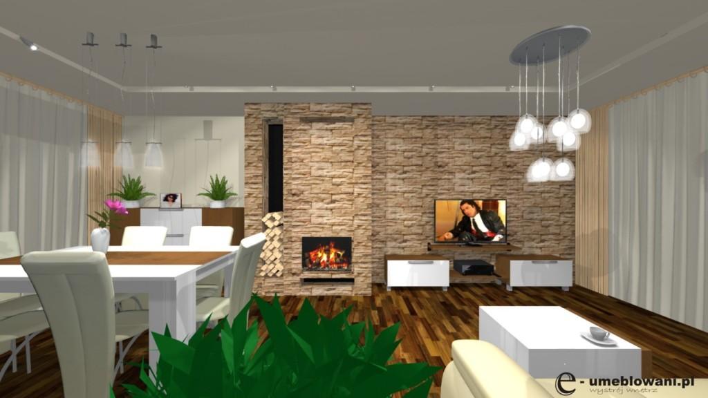 Salon, kominek, stół biały z drewnem, stolik kawowy biały szafka rtv biała, kamień na scianie