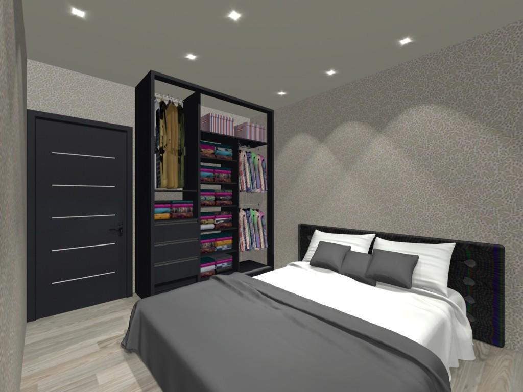 sypialnia, szafa, szaro-biała