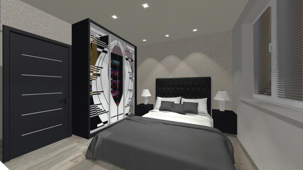 sypialnia, szafa przesuwna z fototapetą, łóżko szare