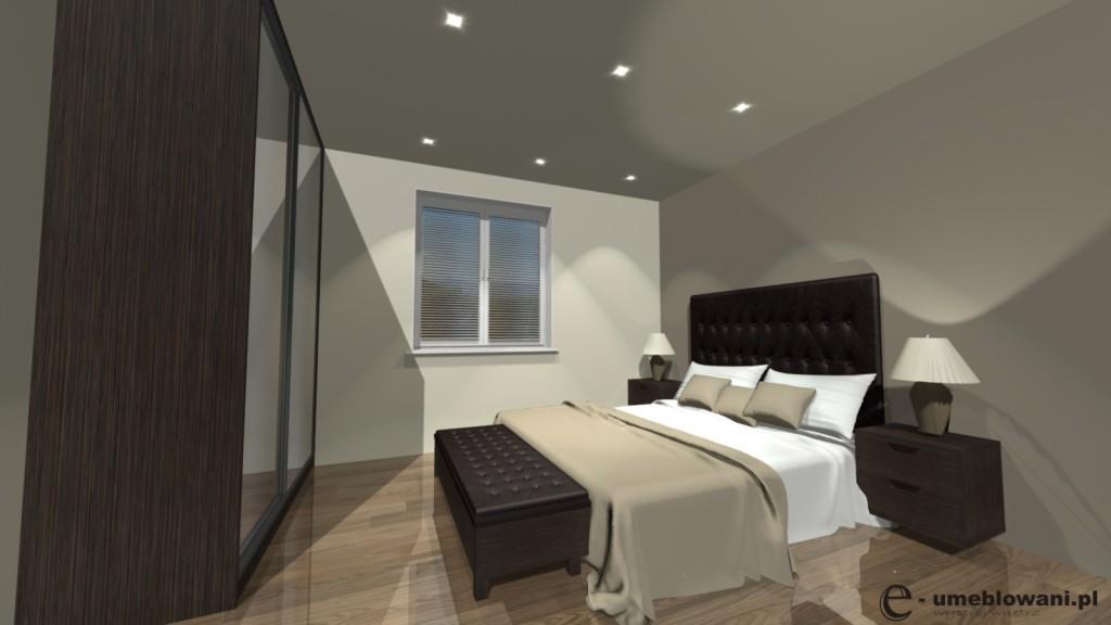 sypialnia brąz, szafa przesuwna z lustrami, łóżko brąz, szafki nocne brąż-drewno