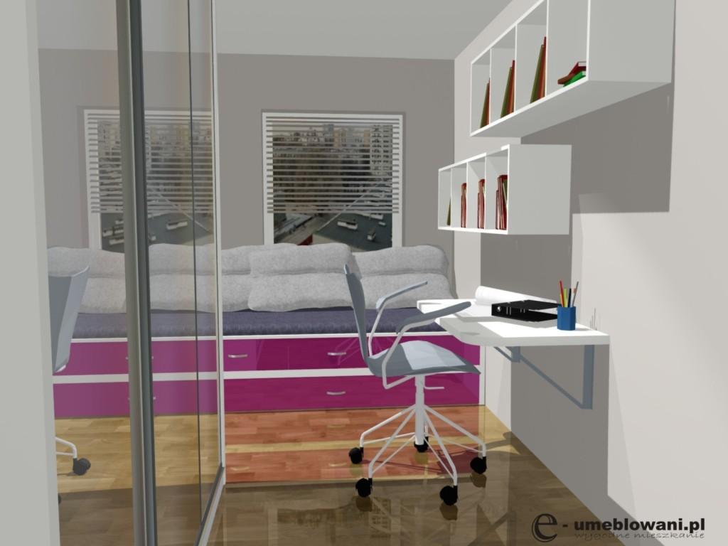 pokój dziecięcy/młodzieżowy, róż, drewno, biały, brąz, biurko, łóżko, szafa przesuwna
