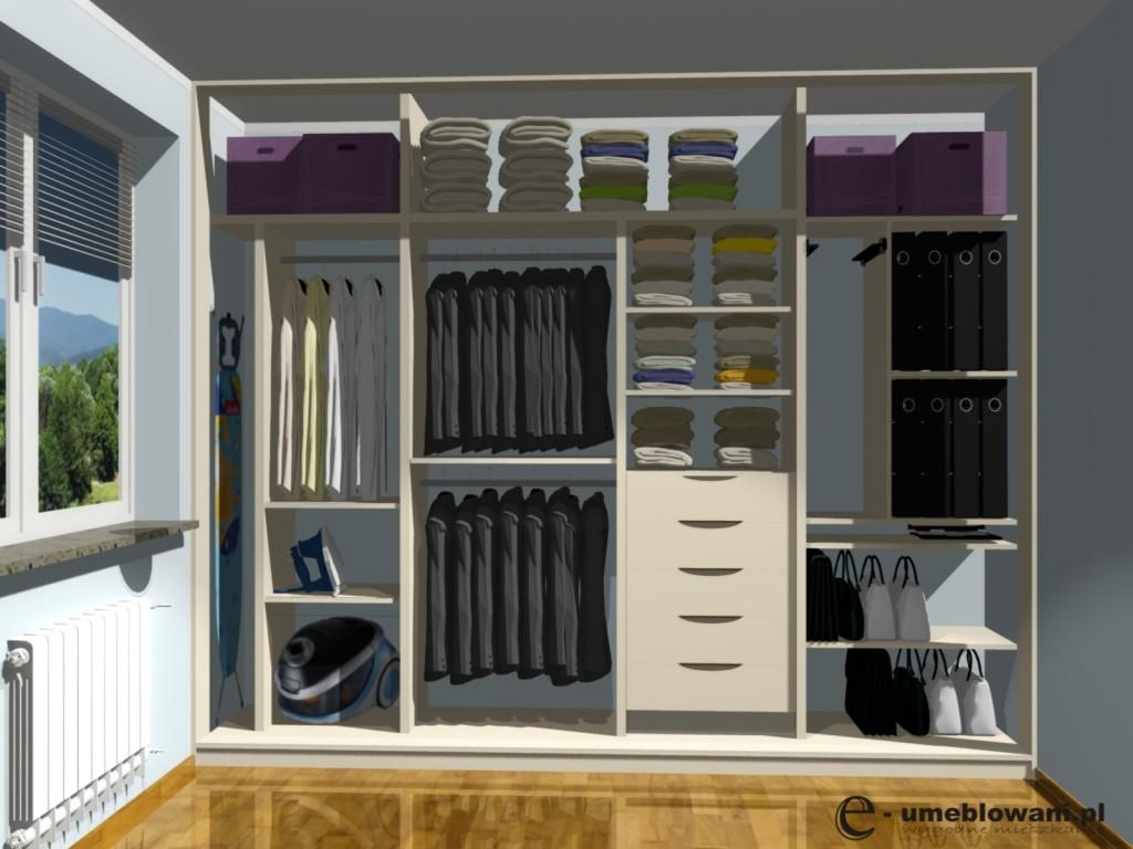Sypialnia, szafa przesuwna, deska do prasowania, szuflady, półki, wieszaki