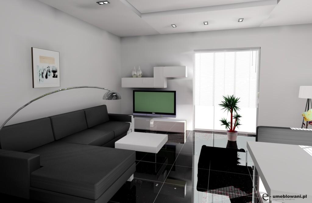 pokój z aneksem kuchennym, biało czarny, naroznik czarny podłoga czarny połysk, lampa stojąca biała
