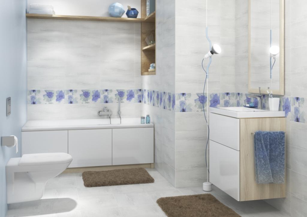 AKWI_Cersanit1-łazienka jasnoszara, liliowa, drewno, dekor kwiaty