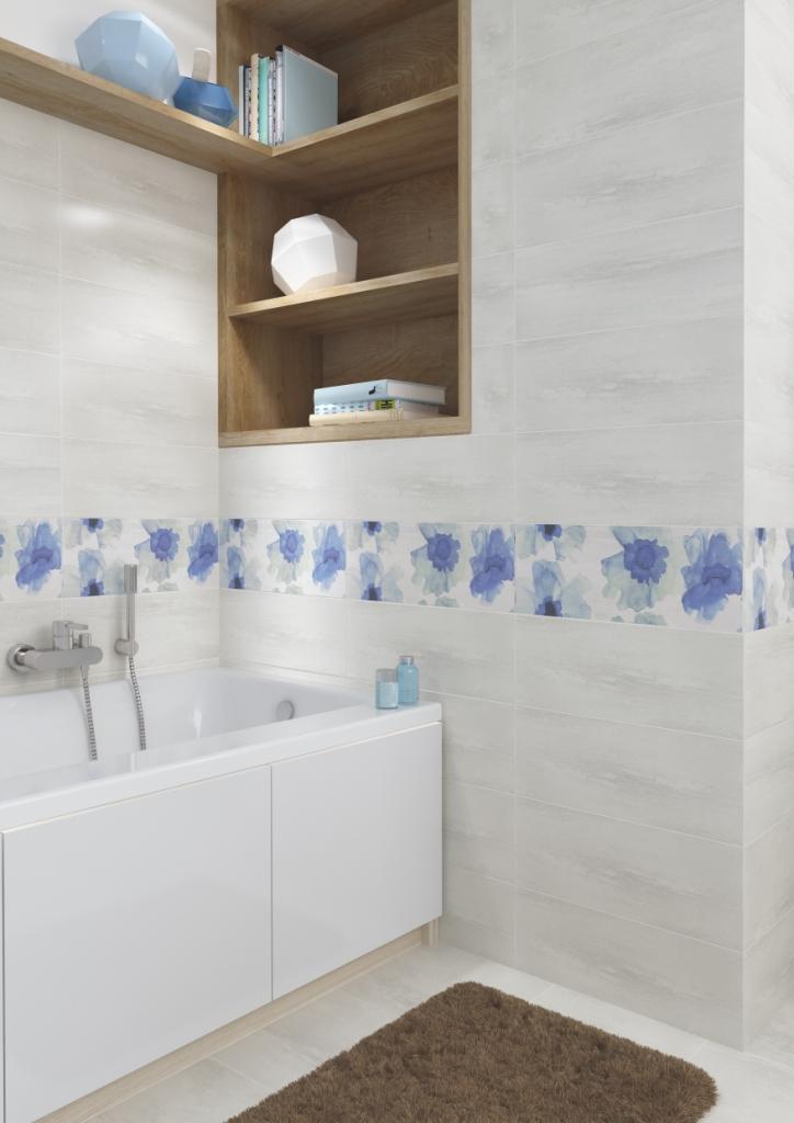 AKWI_Cersanit2-łazienka jasnoszara, liliowa, drewno, półki w ścianie, obudowa wanny