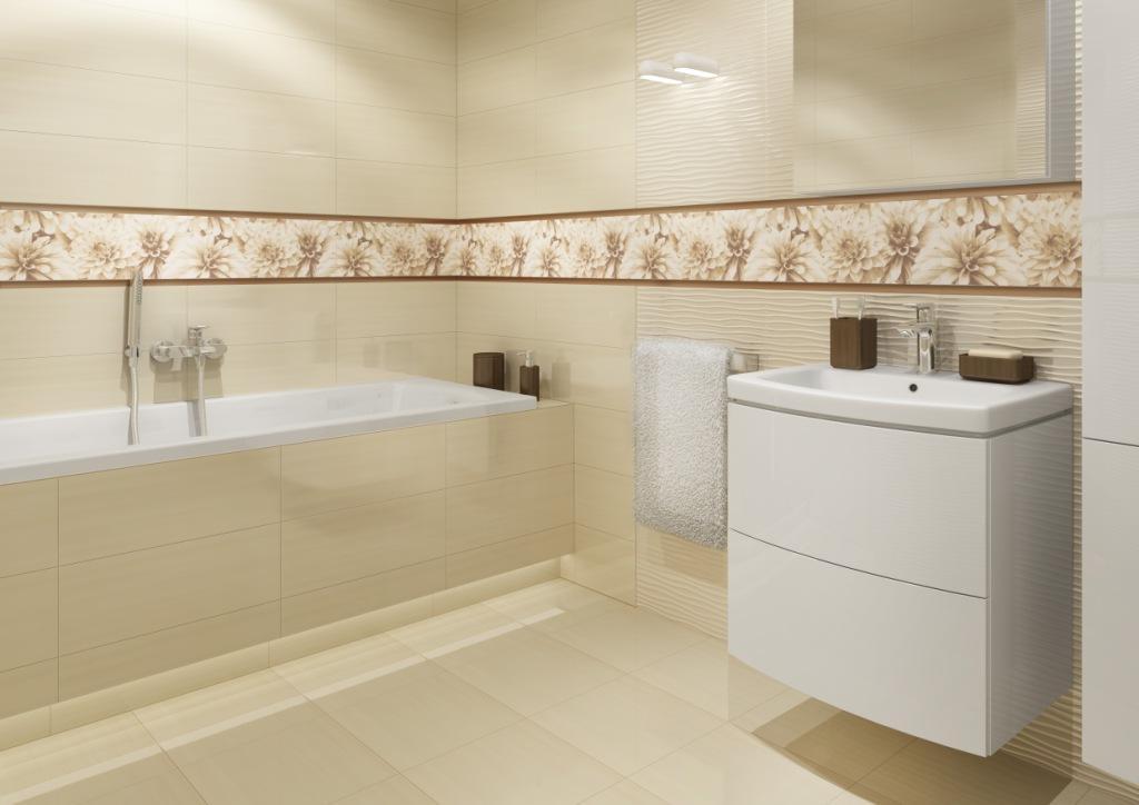 BUGI_Cersanit1_łazienka pudrowy róż, czysta bieli piaskowy krem, dekor kwiaty