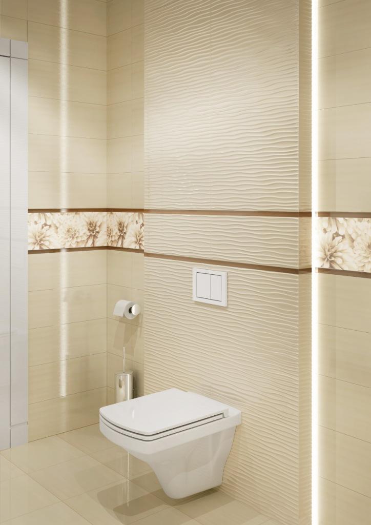 BUGI_Cersanit2-łazienka pudrowy róż, czysta bieli piaskowy krem, zabudowa wc