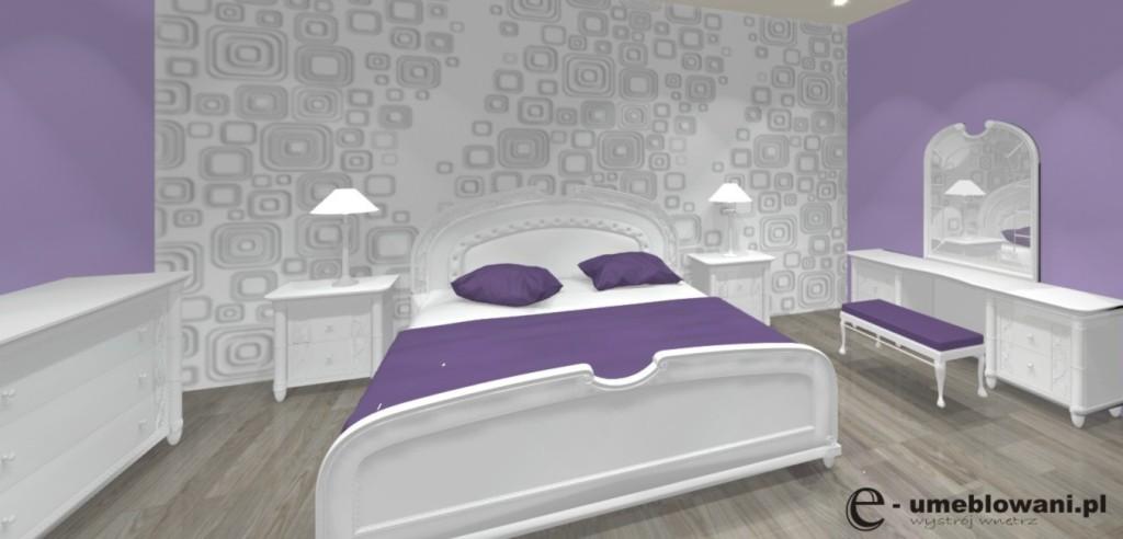 Fioletowa sypilania, komoda biała, łóżko białe, szafki nocne białe