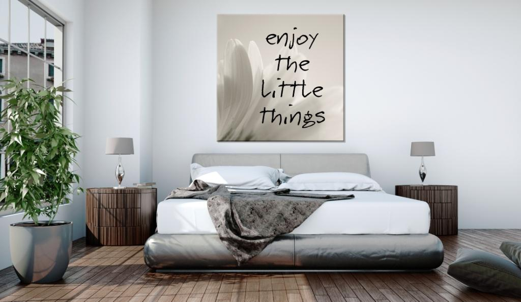 sypialnia, obraz nad łóżkiem, foto napisy
