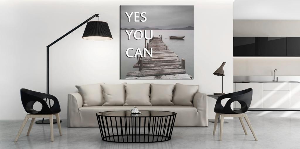 Salon, fotonapisy nad kanapą