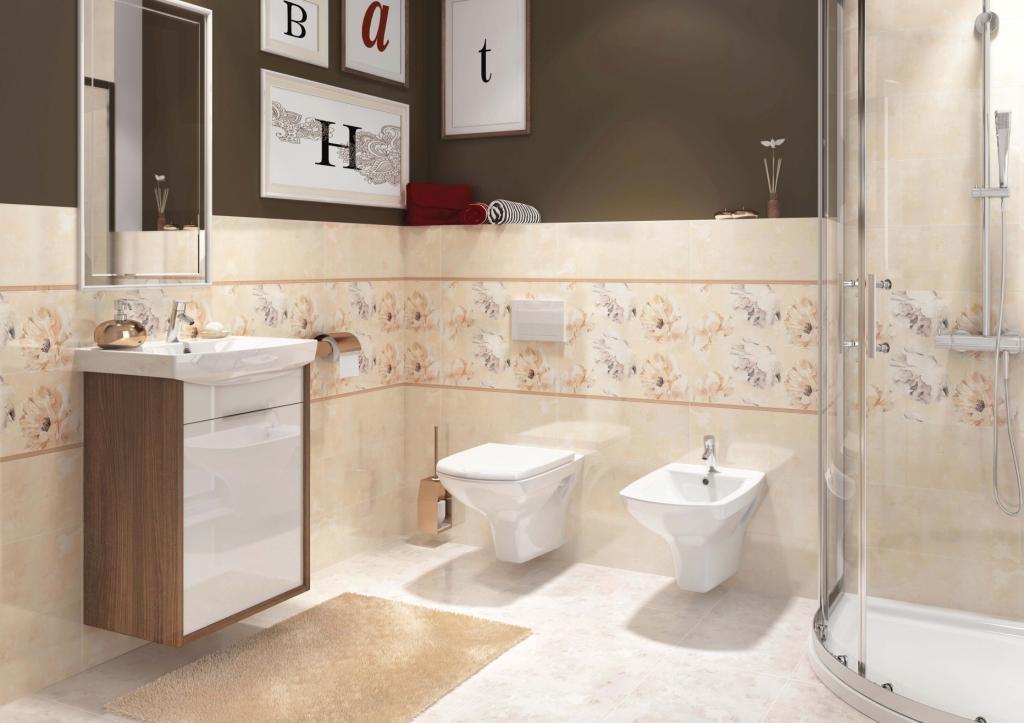 HERBI_Cersanit łazienka blada żółć, brąz, szafka pod umywalke biała połysk