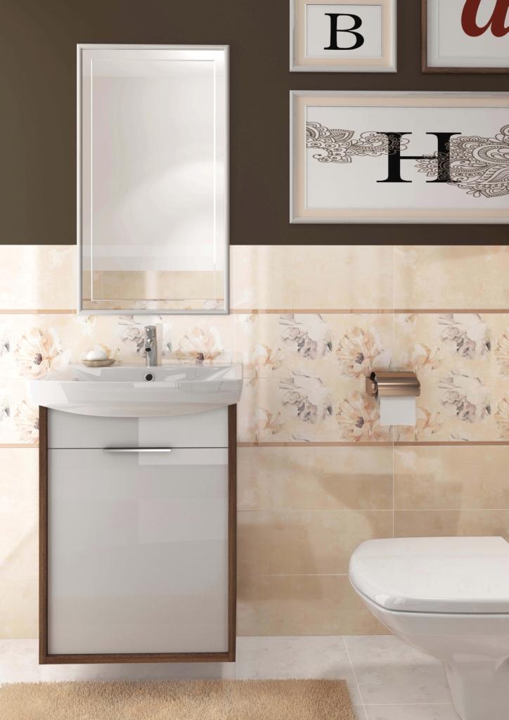 HERBI_Cersanit1- łazienka blada żółć, szafka biały połysk