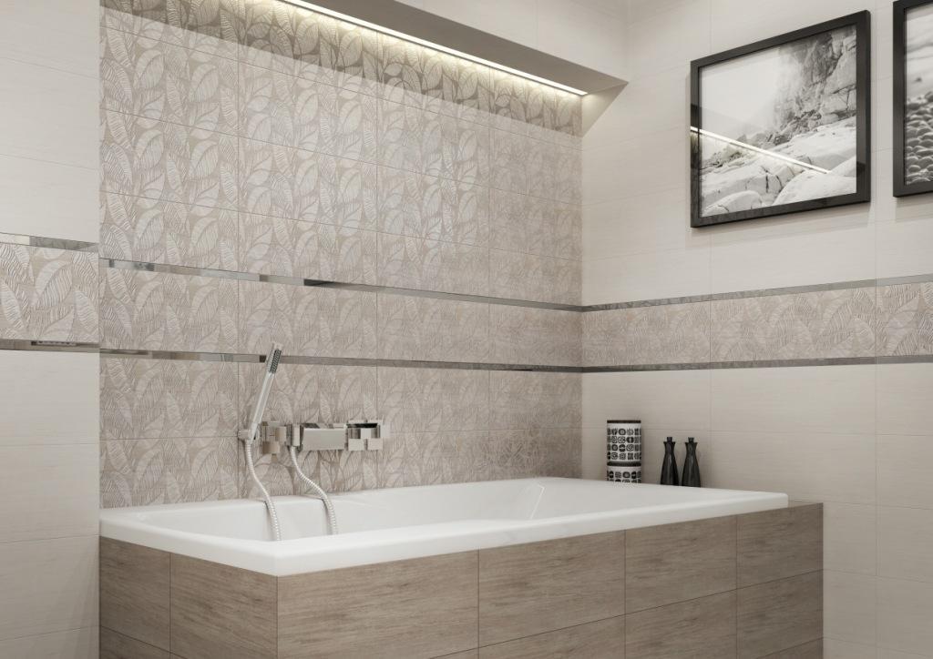 LIVI_Cersanit1 łazienka w drewnie, beżu, płytki drewnopodobne, dekor kwiaty