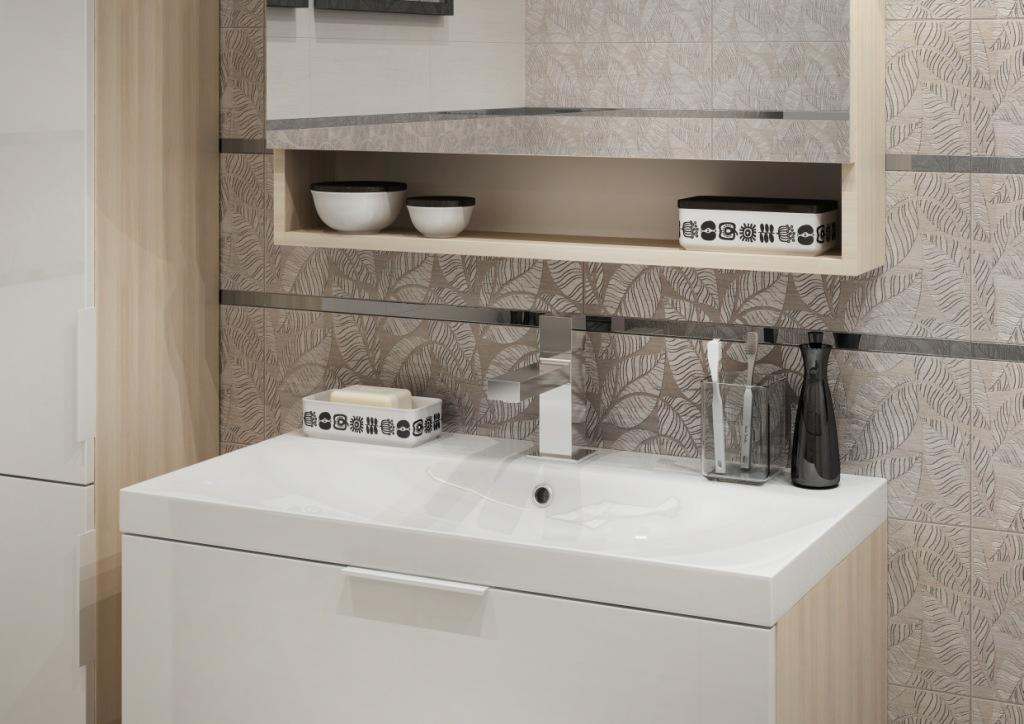 LIVI_Cersanit2 łazienka w drewnie, umywalka prostokątna