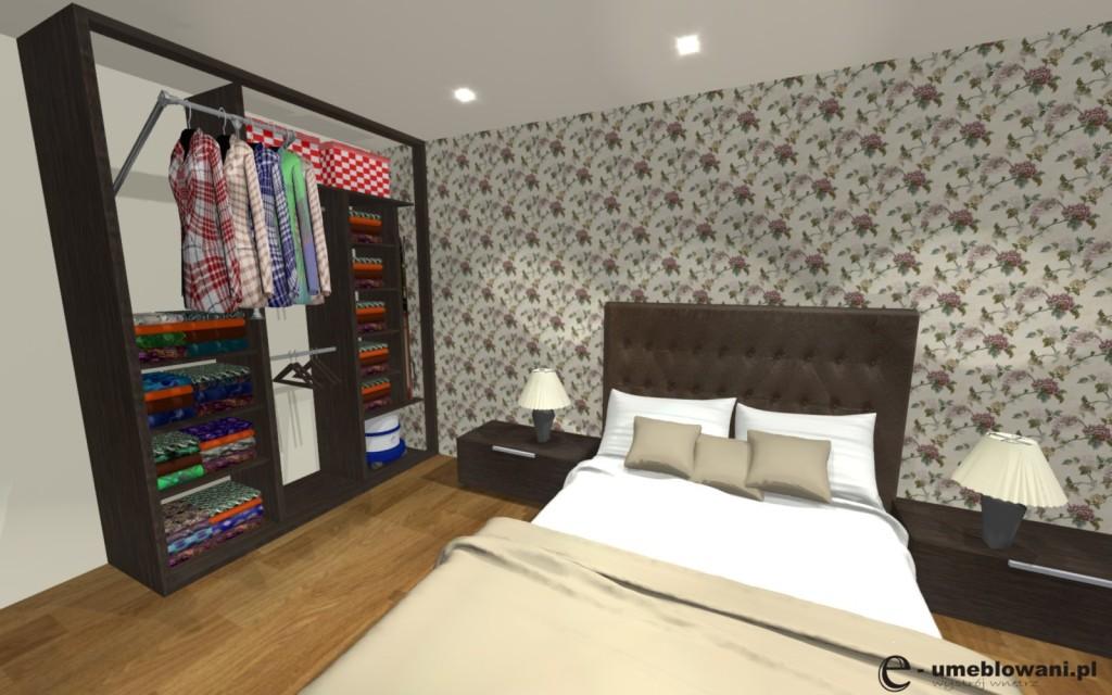 Szafa_w_sypialni, pantograf na ubrania, półki, kosze