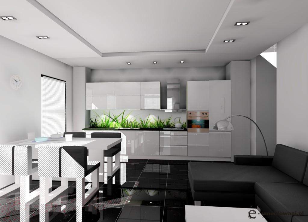 Kuchnia otwarta, aneks kuchenny biały, czarny blat, białe szafki, czarna podłoga, sufit podwieszany led