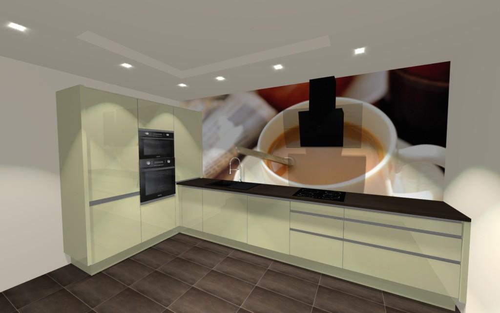 Kuchnia, beż, brąz, urzadzenia kuchenne, bateria zlewozmywakowa, fototapeta filiżanka kawy