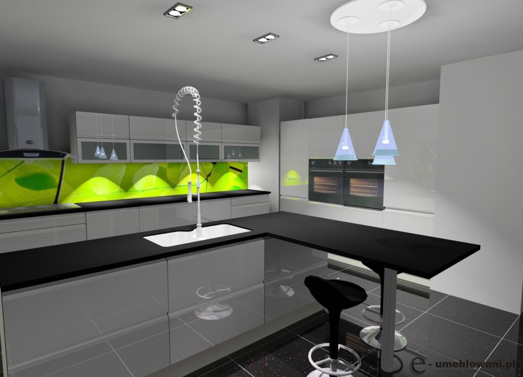 Kuchnia biała, wyspa kuchenna biała, czarny blat, fototapeta limonka na ścianie