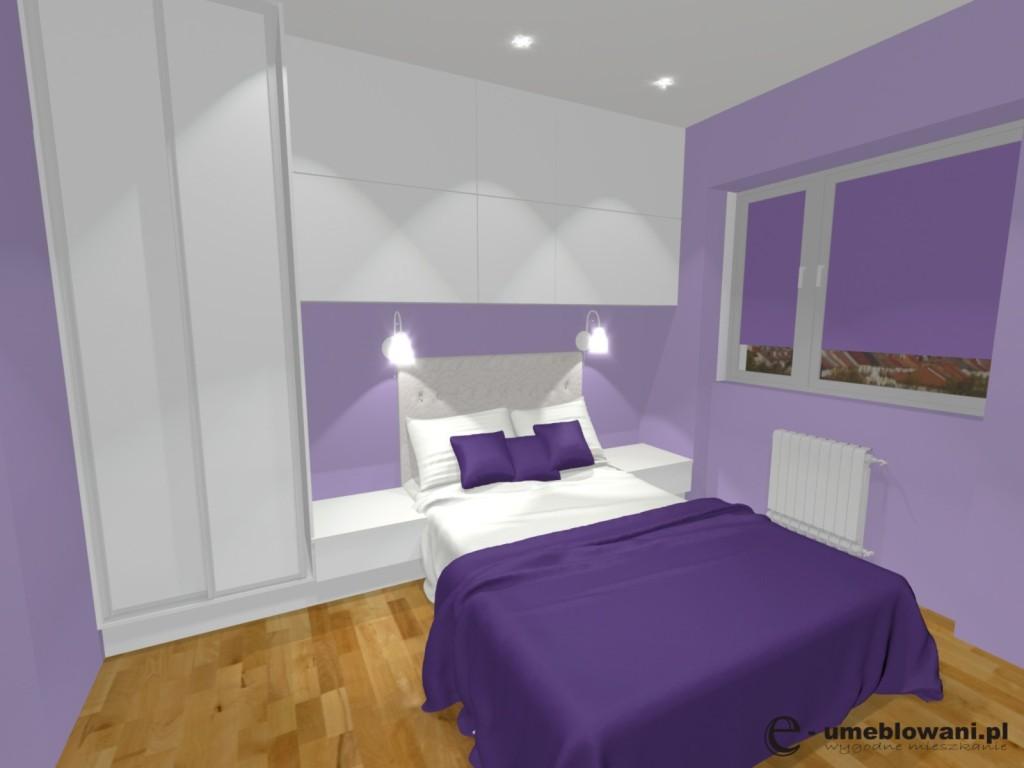 sypialnia fioletowo biała, szafa biała, łóżko białe, podłoga panele drewniane, ściany fioletowe