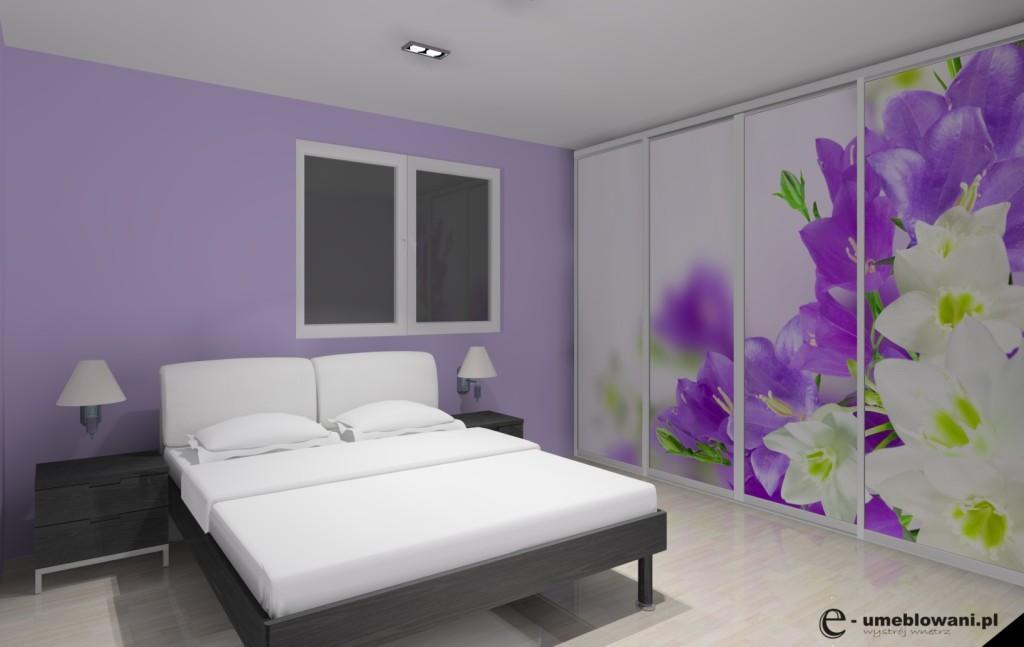 Sypialnia biała, fioletowa, łóżko, szafa z fototapetą kwiaty