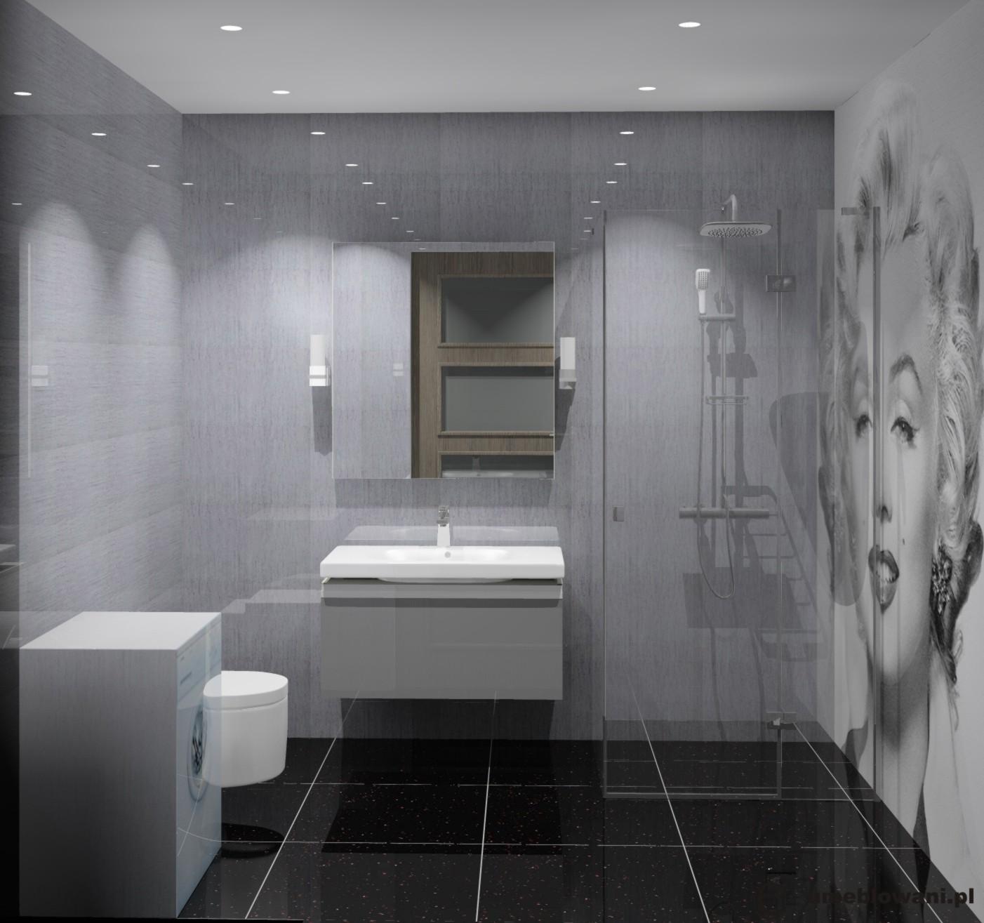 łazienka czarna, szara, biała, płytki tubądzin elegant natur
