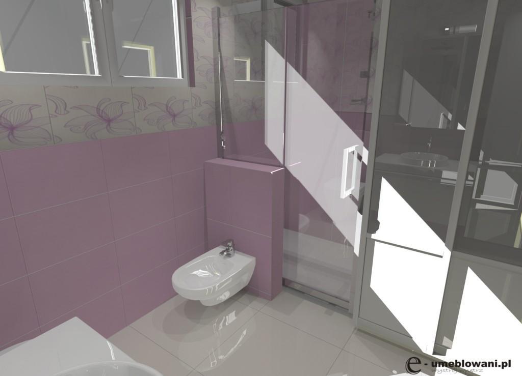 łazienka biała, róż, prysznic