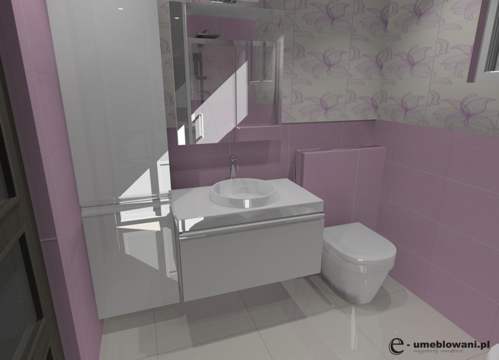łazienka róż, biel, szafki pod umywalke białe