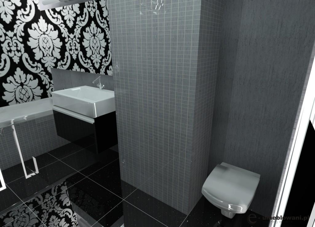 łazienka glamour, czarna, biała, szara, płytki czarne, płytki mozaika szara, szafka połysk czarna