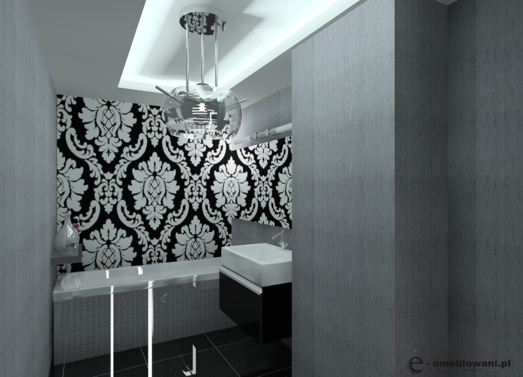 łazienka glamour, czarna, biała, szara, płytki czarne, płytki mozaika szara, szafka połysk czarna, zabudowa wanny