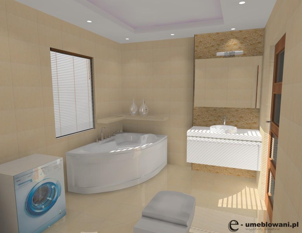 łazienka krem, złoty, wanna, sufit podwieszany led
