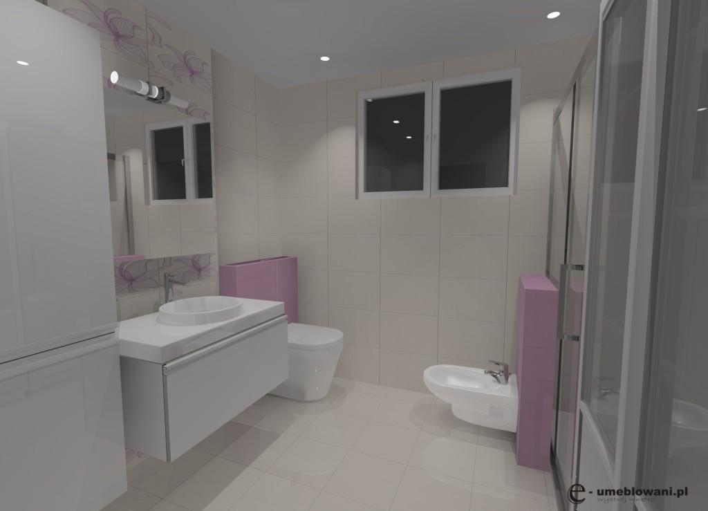 łazienka biała, róż, jedno okno, szafki białe połysk